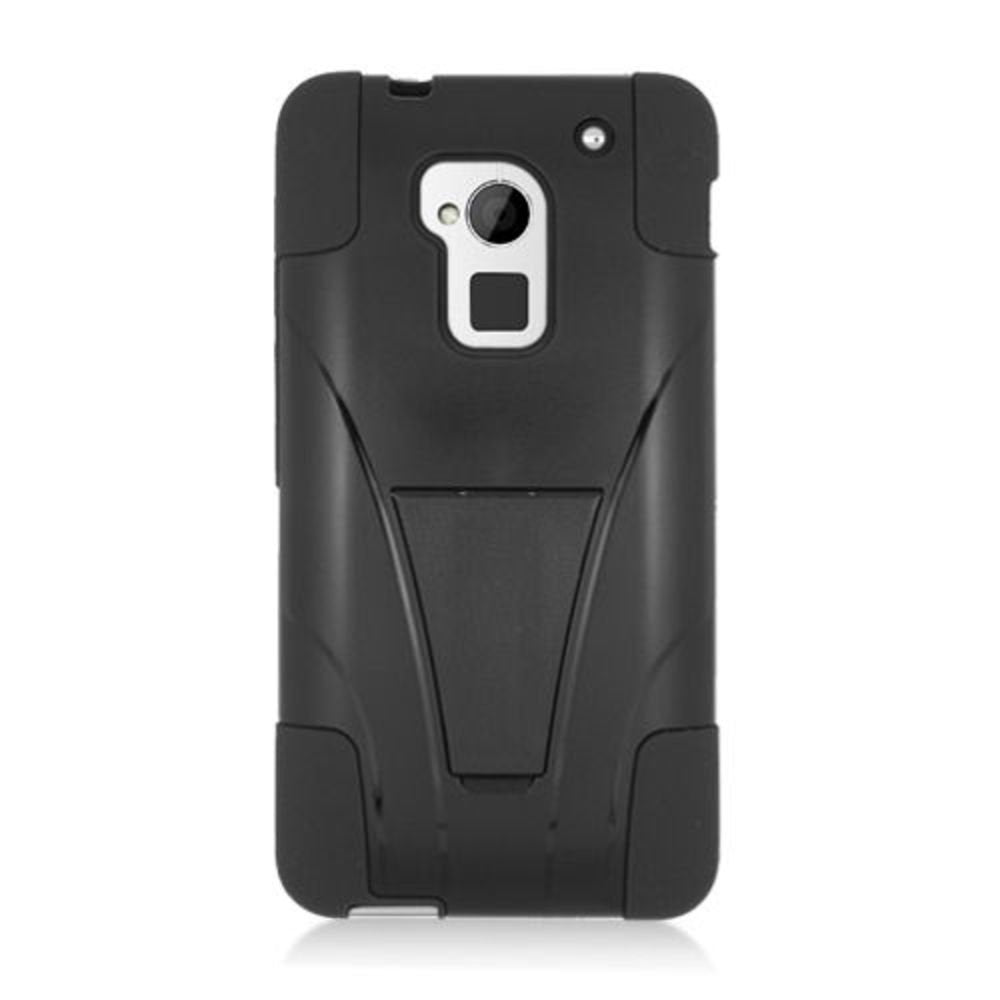 HTC One Max Case, Eagle Cell Dual Layer [Shock Absorbing] Protection Hybrid Stand PC/Silicone Case Cover For HTC One Max, Black