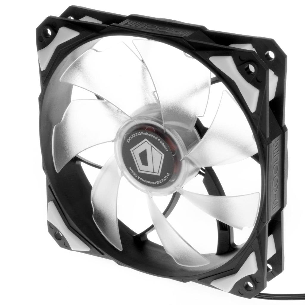 ID-COOLING NO-12025-W White LED 120mm Fan With De-vibration Rubber, 1600RPM, 60CFM