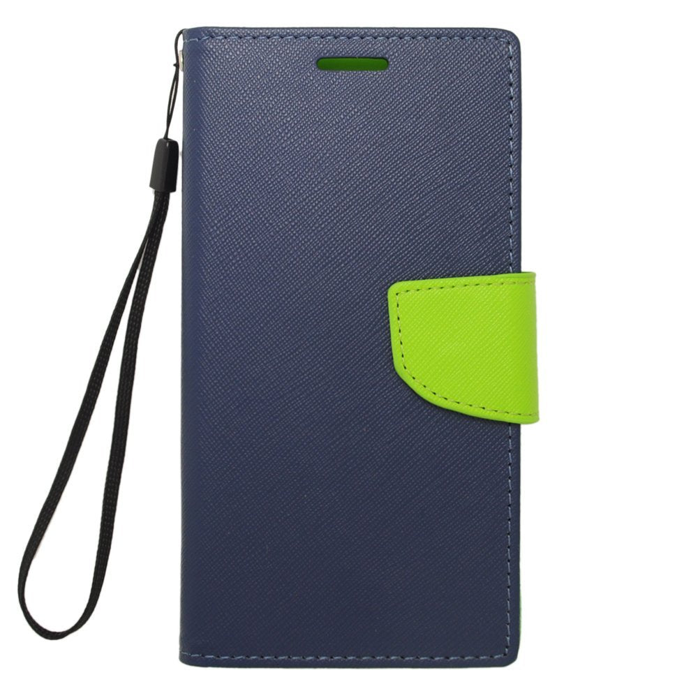 EagleCell PU Leather TPU Protective Case Cover for Samsung Galaxy S5 - Retail Packaging - Green/Dark Blue
