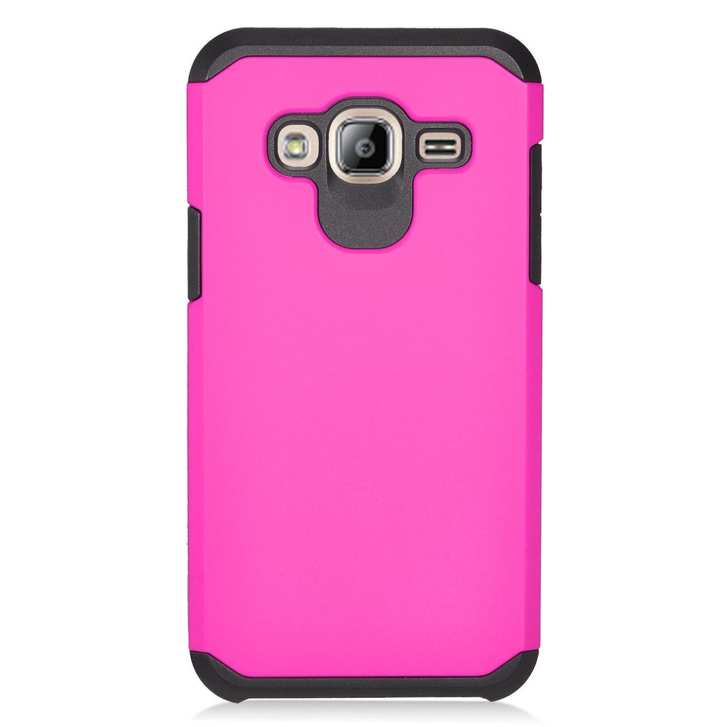 Eagle Cell Phone Case for Samsung Galaxy J3 J320/J310 - Retail Packaging - Hot Pink/Black