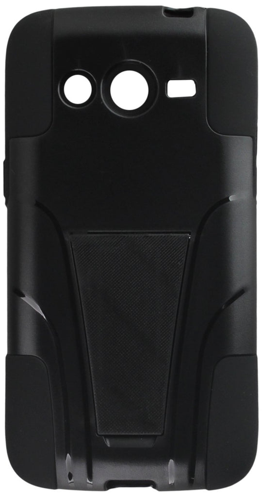 Eagle Cell Hybrid Case with Y Stand for SAMSUNG Galaxy Avant/G386T - Retail Packaging - Black/Black