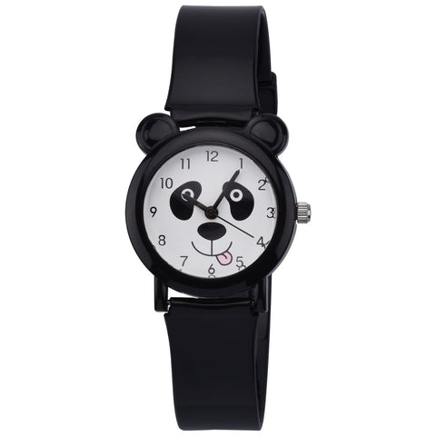 Zeiger KW067 Kids Toddler Children Young Girls Watch Ages 5 - 7 - 10 with Cartoon Panda 3D Silicon Band (Black)