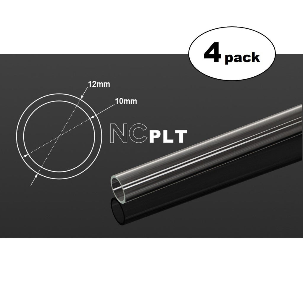 Bitspower None Chamfer PETG Link Tube, 12mm OD, 1000mm, Clear, 4-Pack