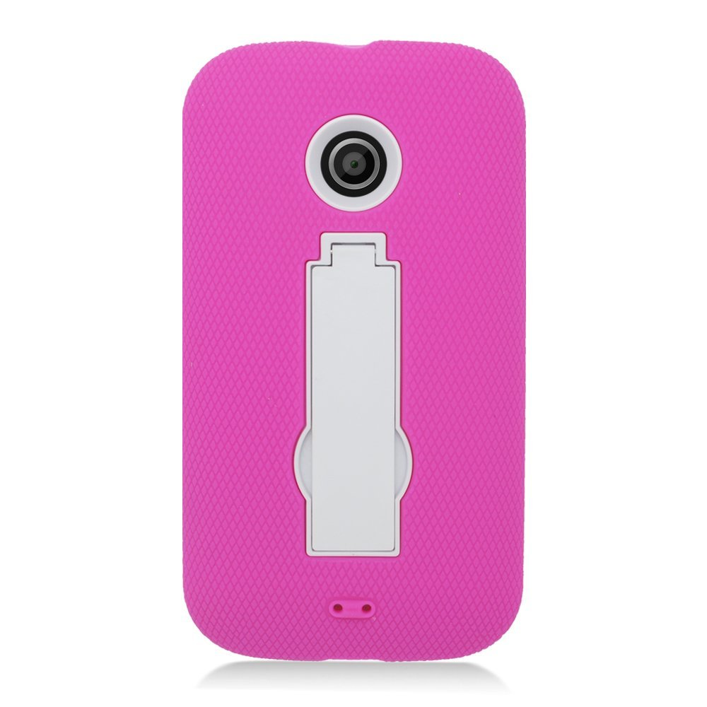 Eagle Cell Motorola Moto E Hybrid Skin Case with Stand - Retail Packaging - White/Pink