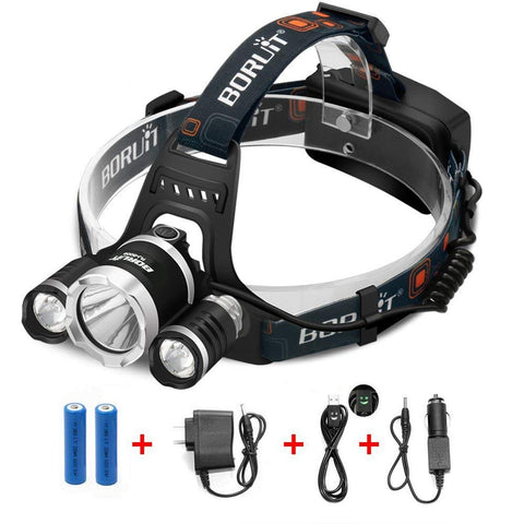 Boruit 10000Lm LED Headlamp Head Light Torch
