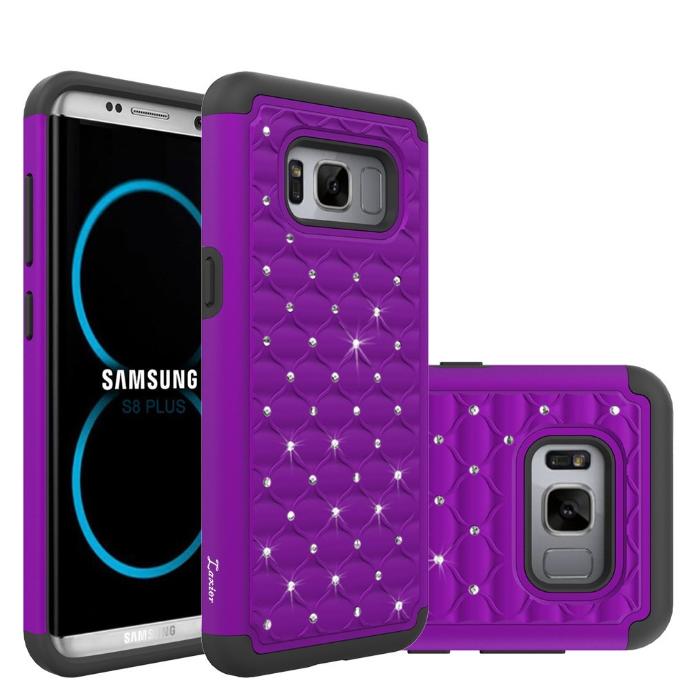 Galaxy S8 Plus Case, Laxier Lightweight Slim Thin Soft Silicone + Hard PC Plastic Protective Phone Cover with Bling Glitter Sparkle Rhinestone (just for Samsung S8+, not fit S 8)(Purple)