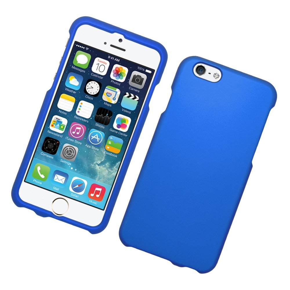 Eagle Cell Snap on Rubberized Hard Protector Case for Apple iPhone 6 - Retail Packaging - Blue
