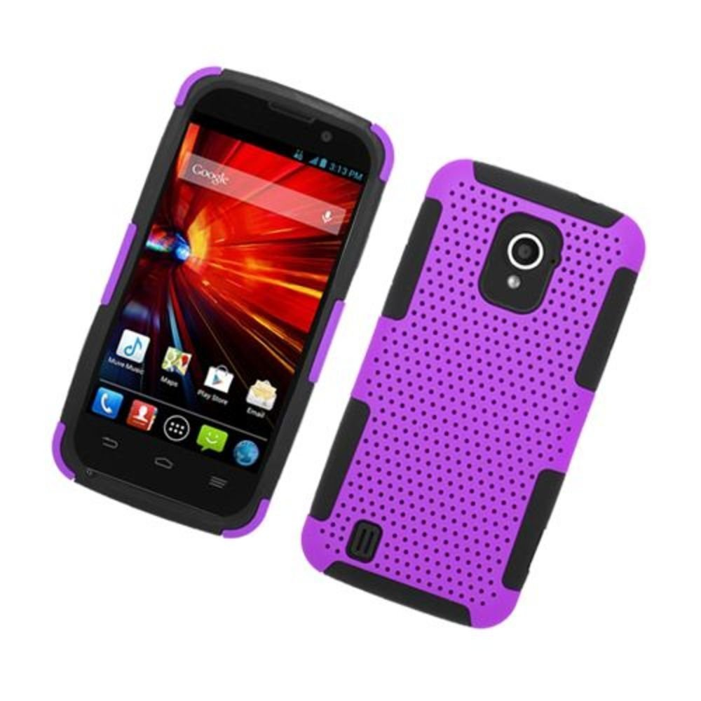 Eagle Cell ZTE Source N9511 Hybrid TPU Mesh Case - Retail Packaging - Black/Purple