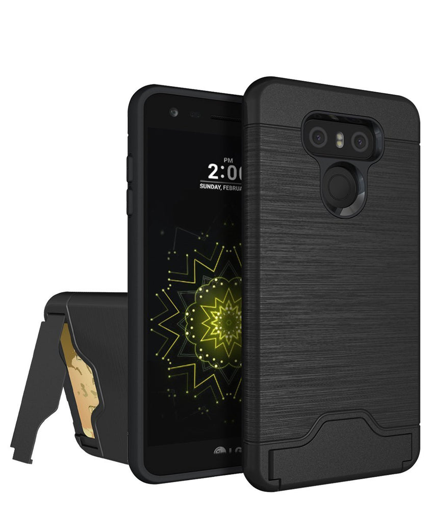 LG G6 Case,KAKA[Card Slot Holder]Slim Fit Shockproof Dual Layer Protection Wire-Drawing Anti-Scratch Case High Impact Resistant Bumper Protective Case Cover with Kickstand for LG G6(2017),Black
