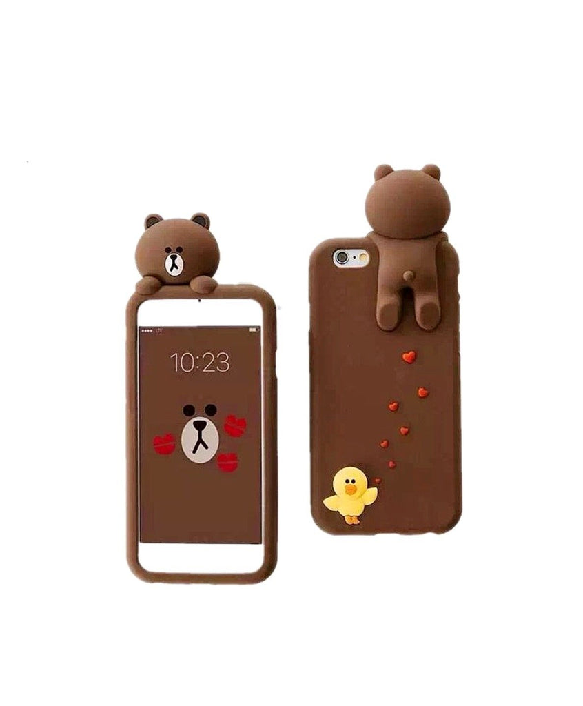 iPhone 7 Plus Phone Case (2016) CaserBay 3D Cute Brown Bear Cartoon Kawaii Ultra Thick Soft Silicone Rubber Case Cover (Bear & Sally For iPhone 7 Plus 5.5)