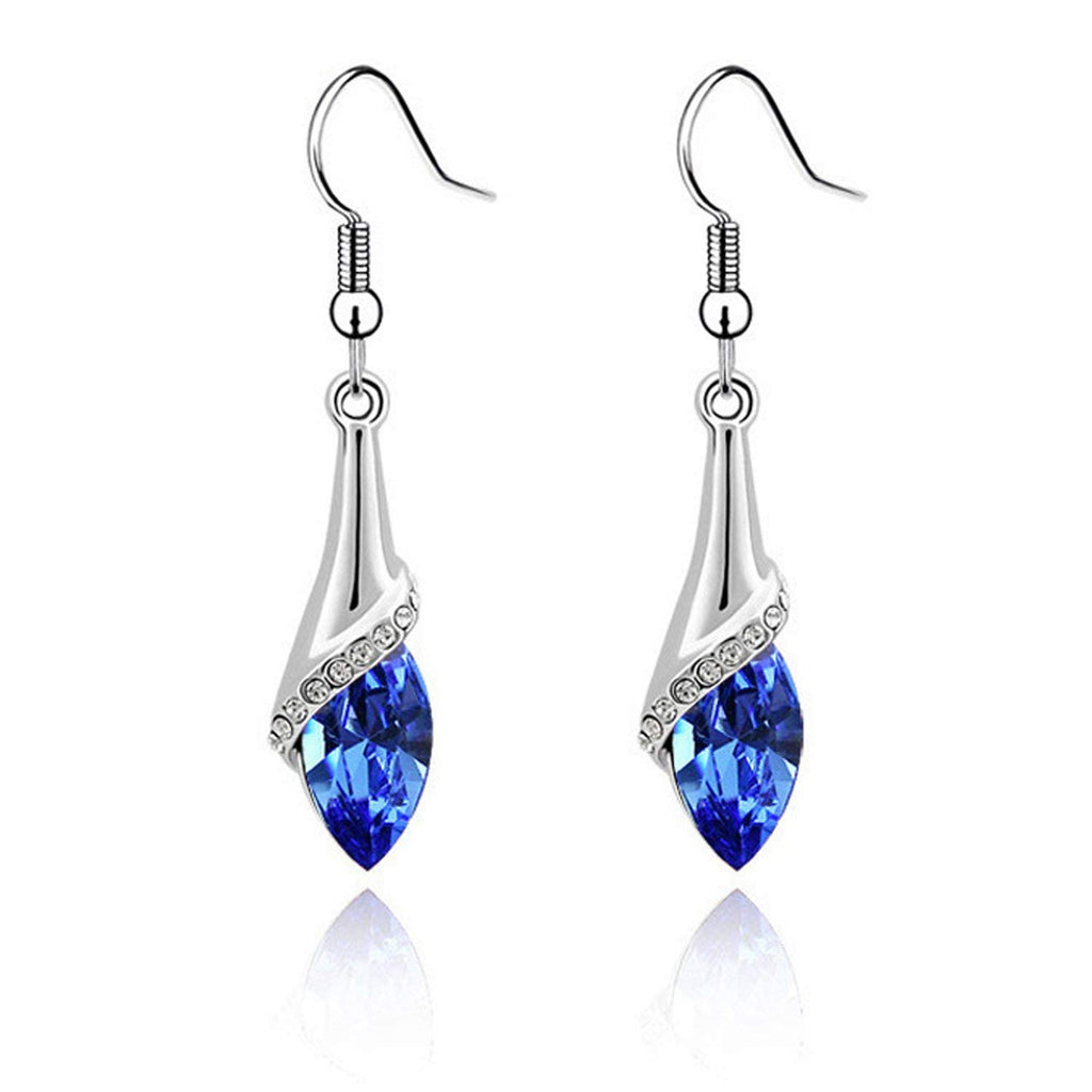 Beyoung(TM) Blue Long Dangle Water Drop Element Set Luxurious Crystal Fashion Earrings Pendant Girl for Wedding,Valentines-day,Mothers-day,Anniversary,Birthday,Party,Prom,Christmas (Blue)