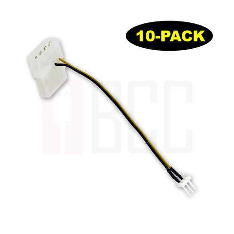 (10-Pack) BuyCheapCables® 3 Pin ATX Fan to 4 Pin Molex Power Adapter Cable (5)