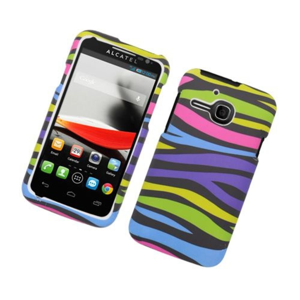 Eagle Cell Rubber Protector Case for Alcatel One Touch Evolve - Retail Packaging - Rainbow Zebra