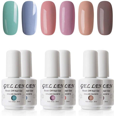 Gellen Colorful Pastel Series Gel Nail Polish Set (6 Colors, 8ml Each) - UV LED Nail Home Gel Manicure