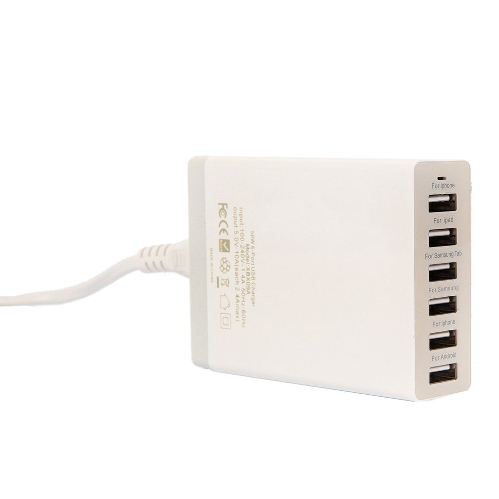 ETvalley50 Watt Multi-Port 6 Port USB Outlet Charger High Speed for Apple iPhone iPod iPad Samsung Android Tablets and Others (White)
