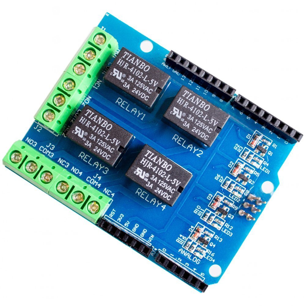 Wangdd22 4 Channel 5v Relay Shield Module, Four Channel Relay Control Board Relay Expansion Board for Arduino UNO R3 Mega 2560