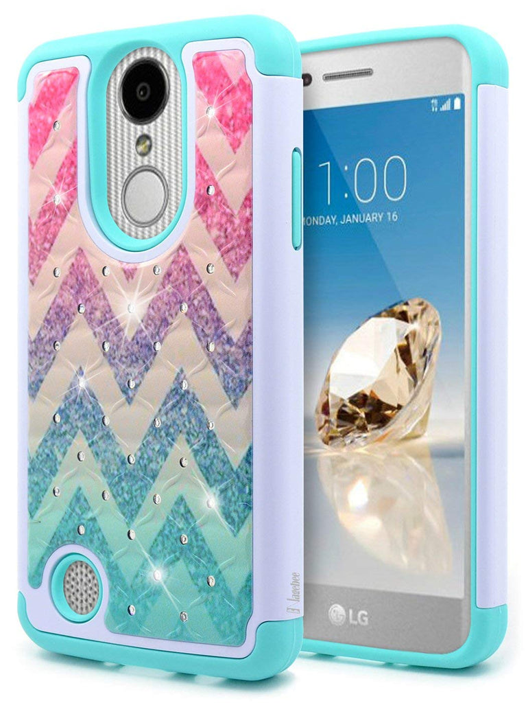 LG Aristo Glitter Case, NageBee [Hybrid Protective] Armor Soft Silicone Cover with [Studded Rhinestone Bling] Design Hard Case For LG Aristo(MS210) / LG K8 2017(M200) / LG LV3 - Wave