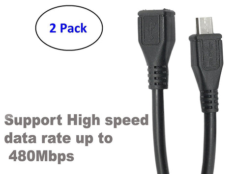 ( 2 Pack ) Micro USB Type B Male To Female M/F Extension Extender Charging Cable Cord (30cm - 1 foot - 0.30m) - Black