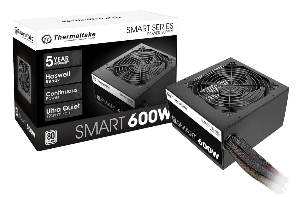 Thermaltake SMART 600W Continuous Power ATX 12V V2.3 / EPS 12V 80 PLUS Active PFC Power Supply PS-SPD-0600NPCWUS-W