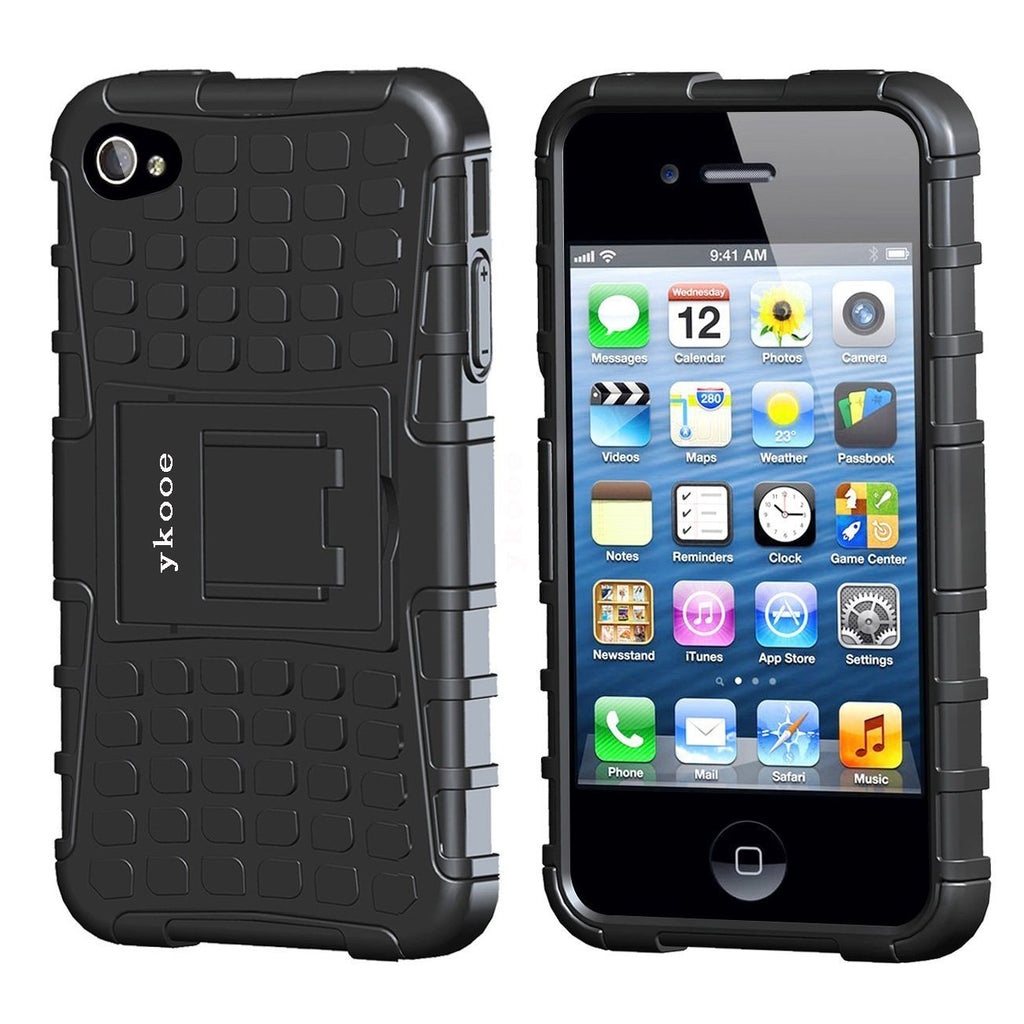 iPhone 4s Case, ykooe (Tire Pattern Series) iPhone 4 Protective Cases Hybrid Impact Resistant Shockproof Slim Hard Shell Cover With Built in Stand for Apple iPhone 4S/4 Black