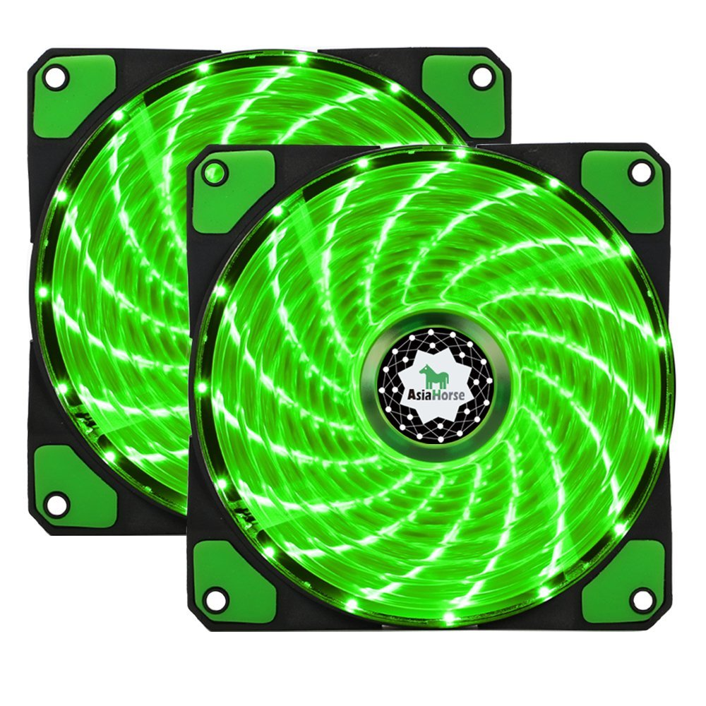 Asiahorse FIREWORK Reinforced Hydraulic Bearing 120mm DC 15 Leds Cooling Case Fan for PC Computer,Quiet Edition CPU Cooler Twin pack(GREEN)