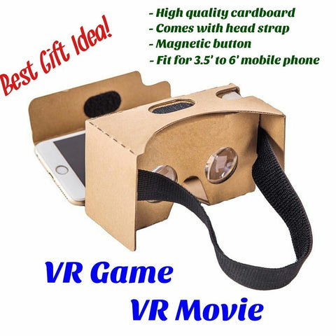 (Buy 1 Get 1 Free)Google Cardboard V2 with Straps, Hailison, 3D Virtual Reality Headset Glasses for Android and iPhone, Easy Setup (Original)