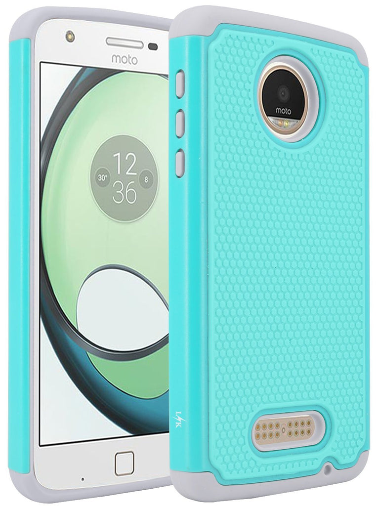 Moto Z Play Case, LK [Shock Absorption] Drop Protection Hybrid Armor Defender Protective Case Cover for Motorola Moto Z Play Droid (Teal)