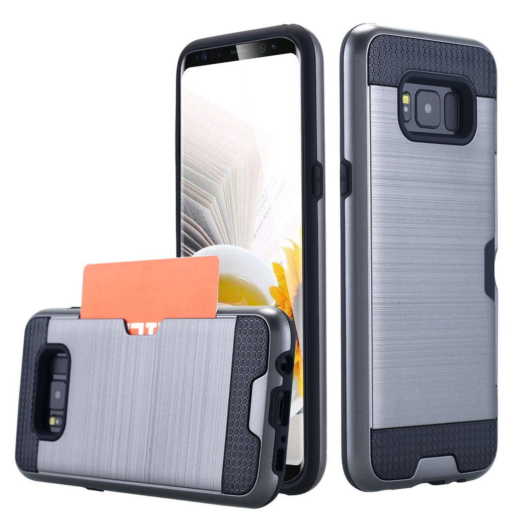 Galaxy S8 Case, LONTECT Credit Card Holder Slot Case Shock Absorbing Dual Layer Brush Matte Case Cover for Samsung Galaxy S8 - Grey