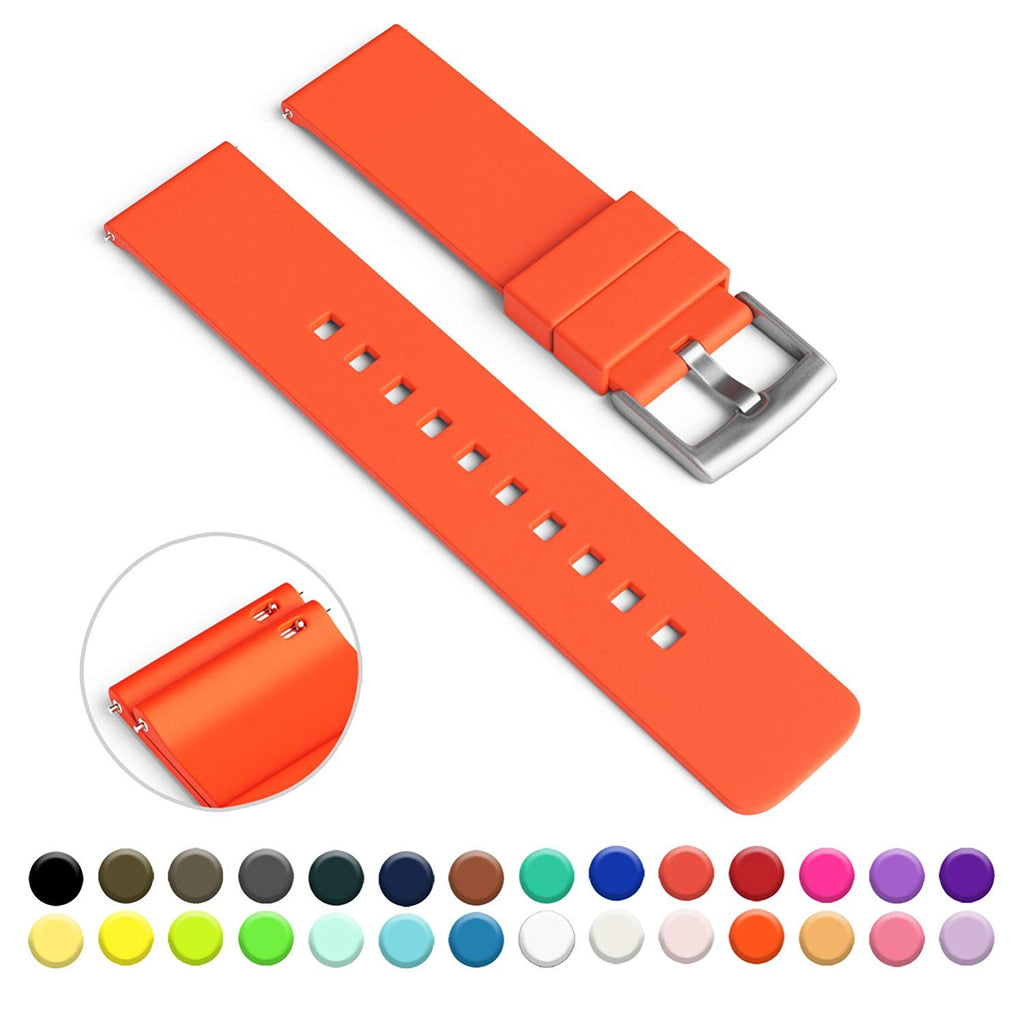 GadgetWraps 20mm Silicone Watch Strap / Band with Quick Release Pins (Pure Orange, 20mm)