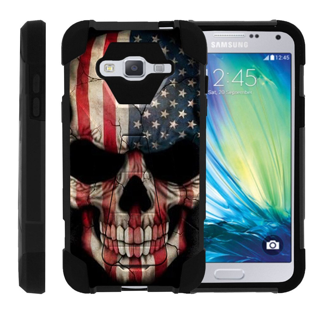 TurtleArmor | Samsung Galaxy J3 Case | Amp Prime | Express Prime | Sol | Sky [Dynamic Shell] Hybrid Dual Layer Hard Shell Kickstand Silicone Case - US Flag Skull