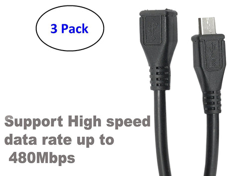 ( 3 Pack ) Micro USB Type B Male To Female M/F Extension Extender Charging Cable Cord (30cm - 1 foot - 0.30m) - Black