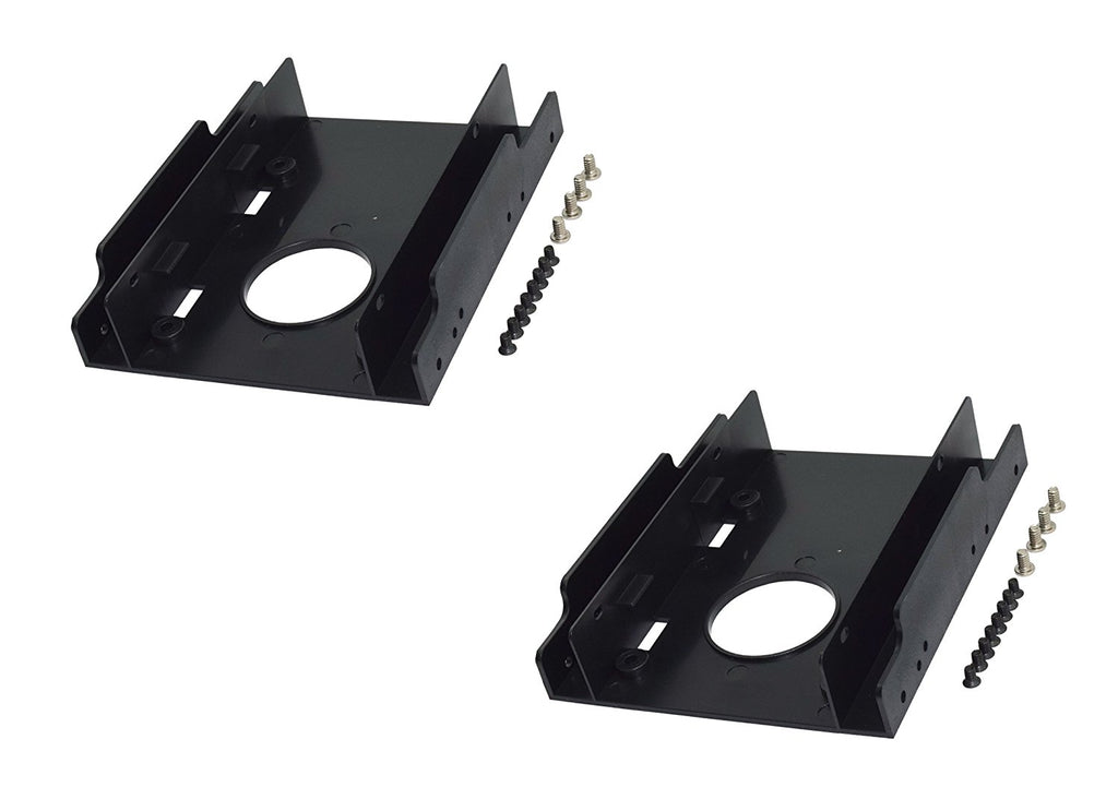(2 PACK) 2.5 SSD HDD To 3.5 Dual HDD/SS Plastic Bracket with Screws for PC - HDB-252