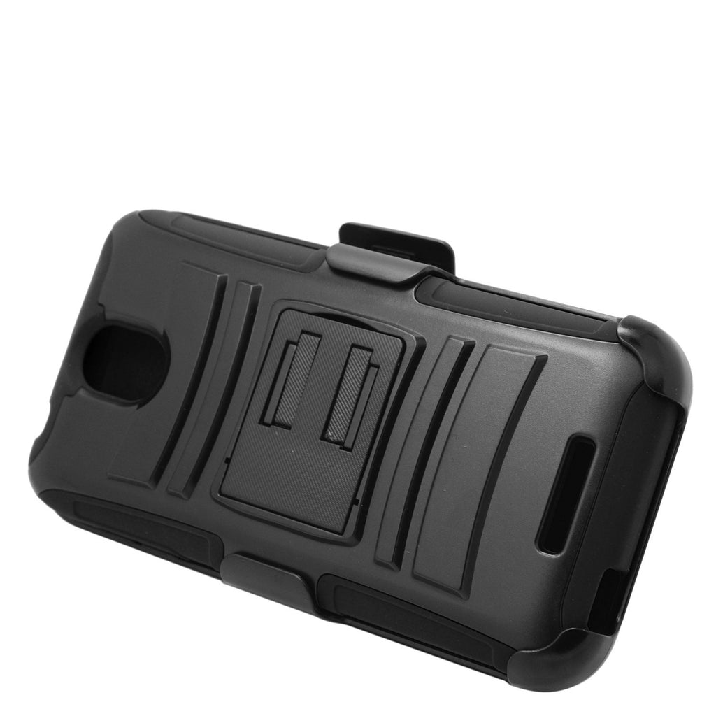 Eagle Cell Hybrid Protective Carrying Case Stand/Belt Clip Holster for HTC Desire 510 - Retail Packaging - Black
