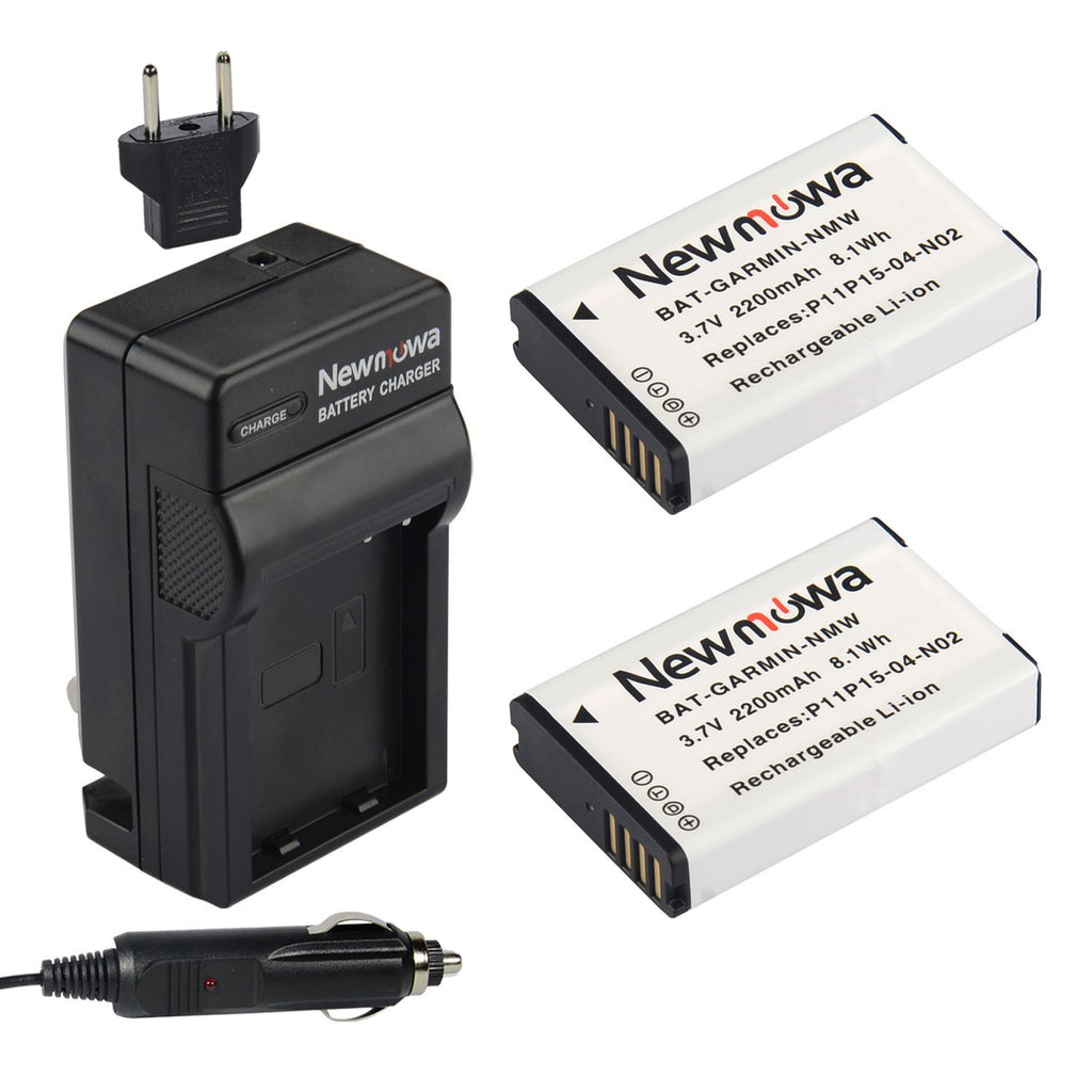 Newmowa P11P15-04-N02 Rechargeable Li-ion Battery(2 Pack) and Charger Kit for 010-11654-03,Garmin VIRB and VIRB ELITE,MONTANA 600,650,650T
