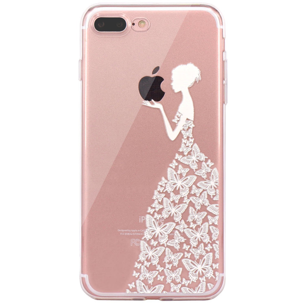 iPhone 7 plus Case, JAHOLAN Beautiful Clear TPU Soft Case Rubber Silicone Skin Cover for iPhone 7 plus 2016 Release - White Beautiful Butterfly Girl