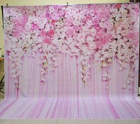 HUAYI Pink Flowers Rose backdrop Photography for Wedding floral Flower Wall photo Booth background 8x8ft D-9354