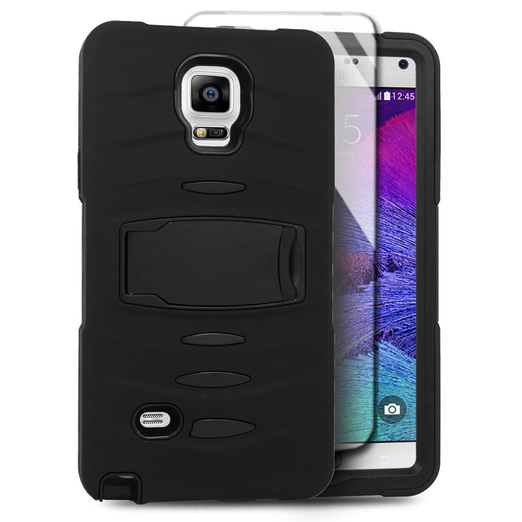 Eagle Cell Samsung Galaxy Note 4 Hybrid Skin Case with Stand - Retail Packaging - Black Stand