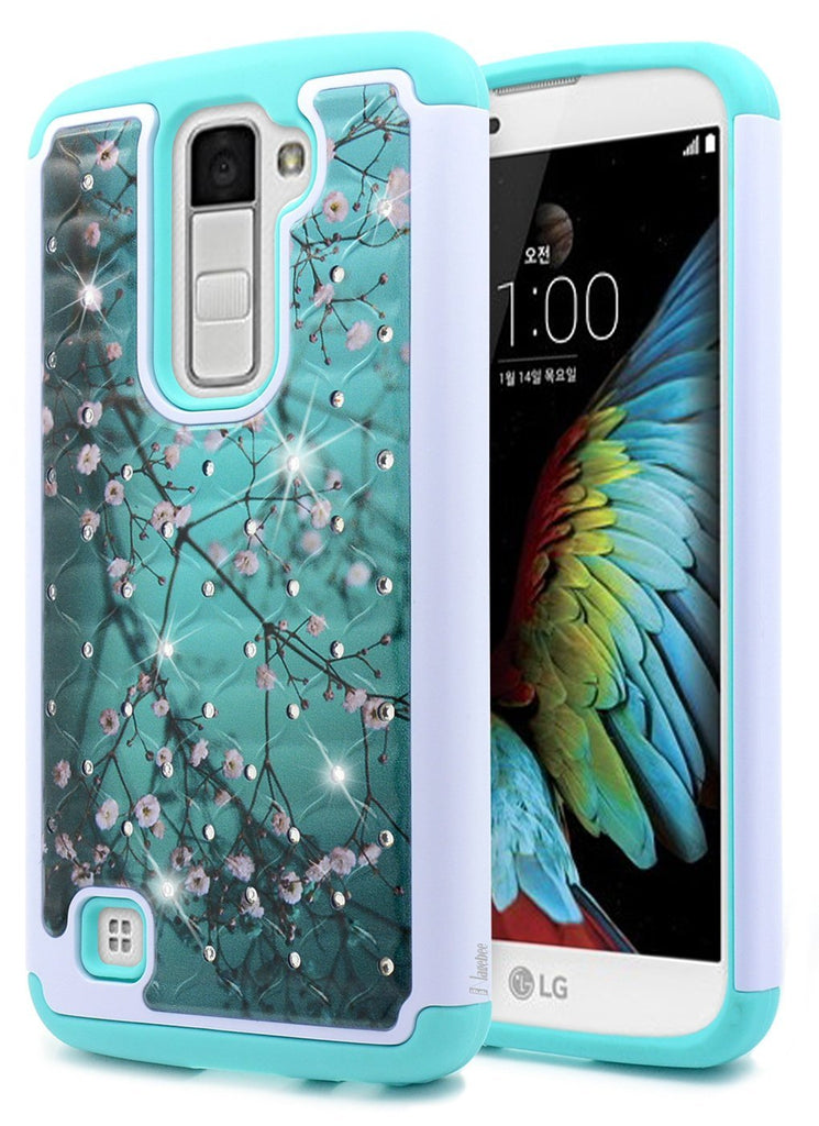 LG K10 Case, LG Premier LTE Case, NageBee [Hybrid Protective] Armor Soft Silicone Cover with [Studded Rhinestone Bling] Design Diamond Hard Case for LG K10 / Premier LTE - Plum