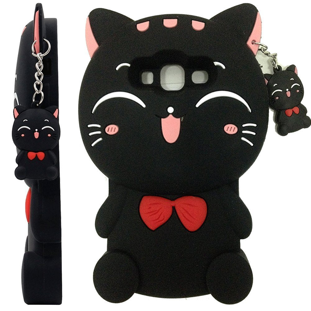 Galaxy J3 Case, Galaxy J3V Case, Skmy 3D Lucky Fortune Cat Kitty with Cute Bow Tie Silicone Rubber Phone Case Cover for Samsung Galaxy J3 / J3V, Galaxy Sky / Sol, Galaxy Amp Prime (Bow Tie Cat-Black)