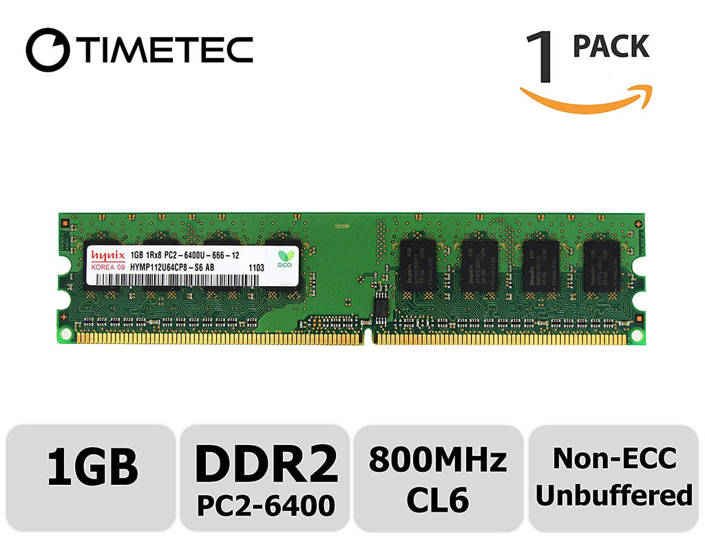 Timetec Hynix 1G DDR2 800MHz PC2 - 6400 Non Ecc Unbuffered 1.8V CL6 1Rx8 Single Rank 240 Pin UDIMM Desktop PC Computer Memory Ram Module Upgrade (1GB)