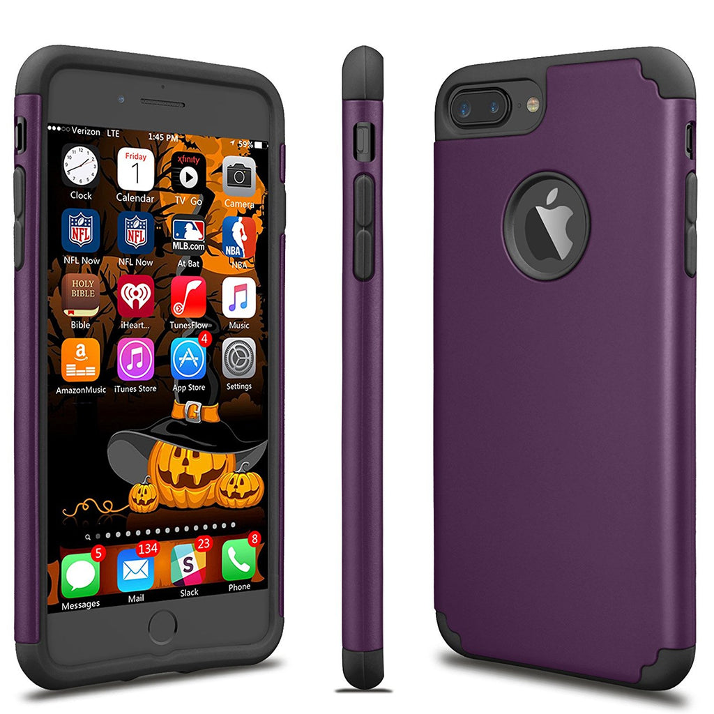 iPhone 7 Plus Case For Girls, Tekcoo [TBaron Series] iPhone 7 Plus (5.5 INCH) Bumper Case Shock Absorbing Hard Hybrid Defender Cute Cover [Scratch Proof] Plastic Shell + TPU Rubber Inner [Purple]