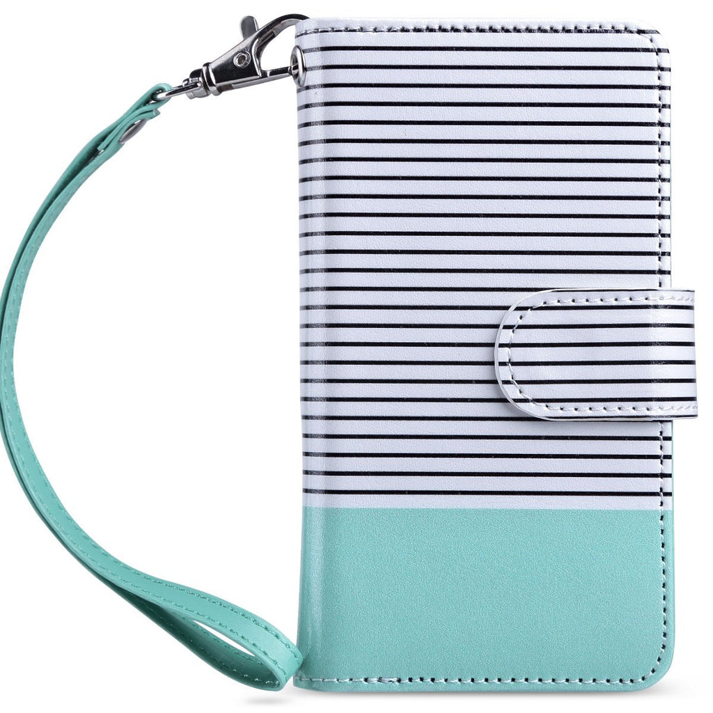 iPod Touch 6 Case,ULAK iPod Touch Wallet Case with Flip Design + Credit Card Slots and Fold Media Stand Synthetic Leather Cover for iPod Touch 5 6th Generation (4 inch) , Minimal Mint Stripes