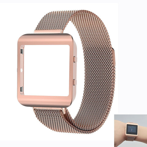 Ztotop Housing Frame Loop Band for Fitbit Blaze Smart Watch - Rose Gold