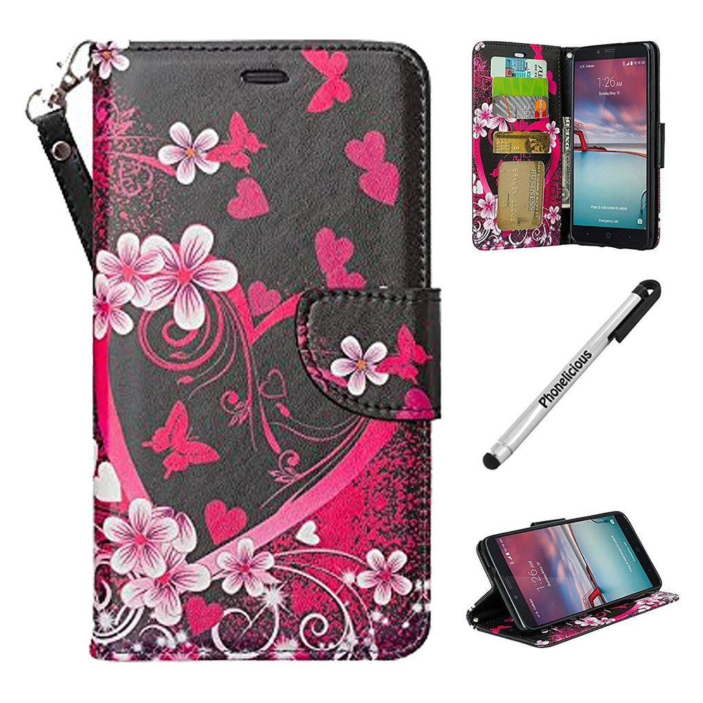 ZTE ZMAX PRO Case, ZTE GRAND X MAX 2 WALLET, Phonelicious Wallet PU Leather Case Premium Pouch ID Credit Card Cover Flip Folio Book Style with Money Slot +Pen (HEART SAKURA WALLET)