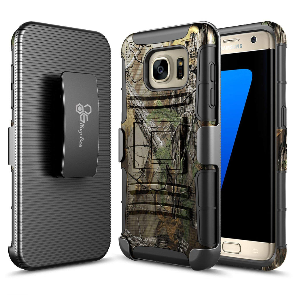 S7 Edge Case, Galaxy S7 Edge Case, NageBee [Heavy Duty] Armor Shock Proof Dual Layer [Swivel Belt Clip] Holster with [Kickstand] Combo Rugged Case for Samsung Galaxy S7 Edge - Camouflage