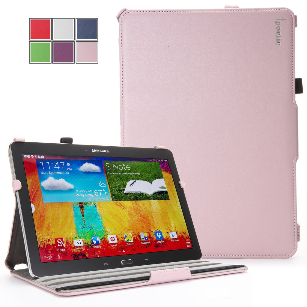 Samsung Galaxy Note 10.1 2014 Case - Poetic Samsung Galaxy Note 10.1 2014 Case [StrapBack Series] - [PU Leather] [View Stand] Protective Cover Case for Samsung Galaxy Note 10.1 2014 Edition Tablet Pink (3 Year Manufacturer Warranty From Poetic)