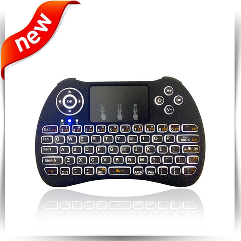 ( 2017 New Model ) White Backlight Mini Wireless Keyboard with Touchpad Mouse, USB Rechargeable Lithium Battery Handheld Keybord for for Smart tv, Android tv box, Laptop, Xbox Gaming, PS4, PC, Black