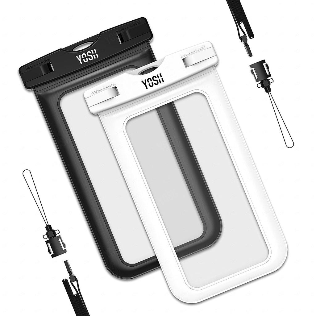Waterproof Case, YOSH Universal Cell Phone Dry Bag Pouch for Apple iPhone 6S 6 6S Plus SE 5S Note 5 S7 S6 Edge Pixel XL LG Huawei for Smartphone up to 6 inches, 2 Pack(Black & White)
