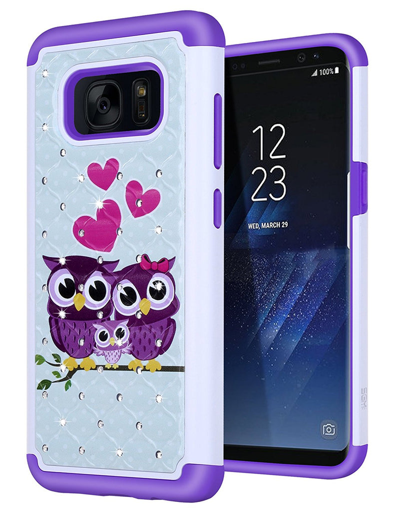 S8 Case, SGM Shock Resistant Studded Rhinestone Crystal Bling Hybrid Armor Case Cover for Samsung Galaxy S8 (NOT FOR S8 PLUS) (Owl (Pink)) (Owl (Purple))