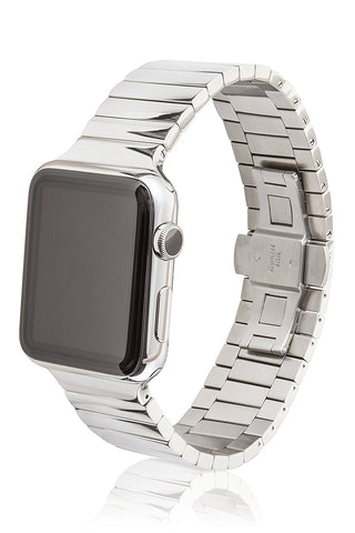 38mm JUUK Revo Premium Apple Watch band, made with Swiss quality using only the highest grade solid 316L stainless steel with a high-polished finish and solid steel butterfly deployant buckle